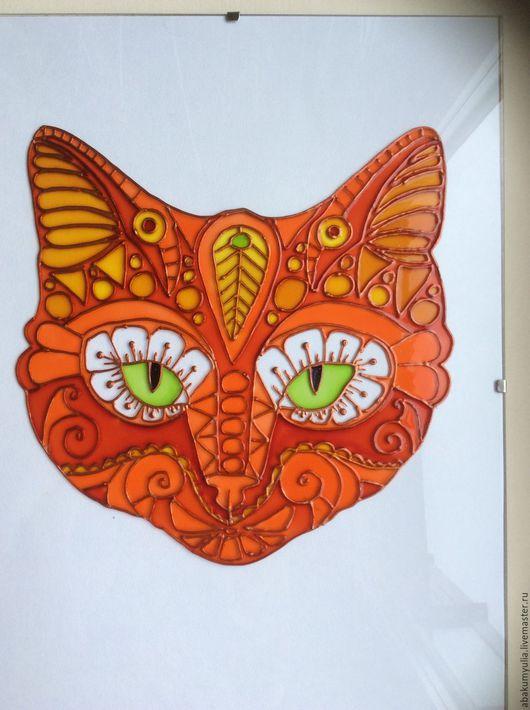 Элементы интерьера ручной работы. Ярмарка Мастеров - ручная работа. Купить Рыжий кот. Handmade. Рыжий, Роспись по стеклу, котик