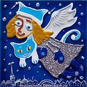 """Подарки к праздникам ручной работы. Ярмарка Мастеров - ручная работа Магнит """"Ангел над городом"""". Handmade."""
