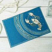 Канцелярские товары handmade. Livemaster - original item Passport cover genuine leather turquoise blue zodiac Cancer. Handmade.