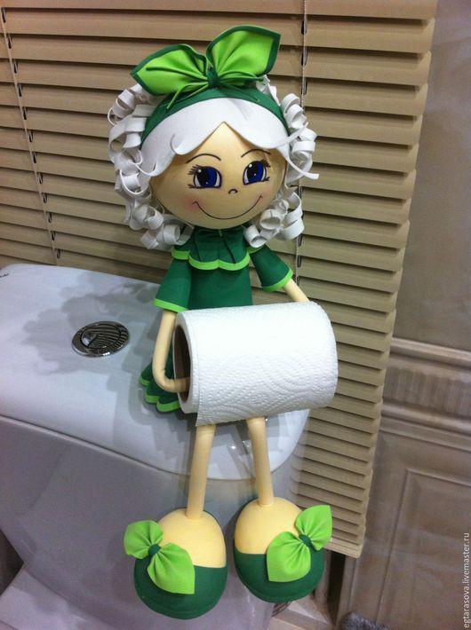 Ванная комната ручной работы. Ярмарка Мастеров - ручная работа. Купить Кукла-держатель для туалетной бумаги. Handmade. Тёмно-зелёный
