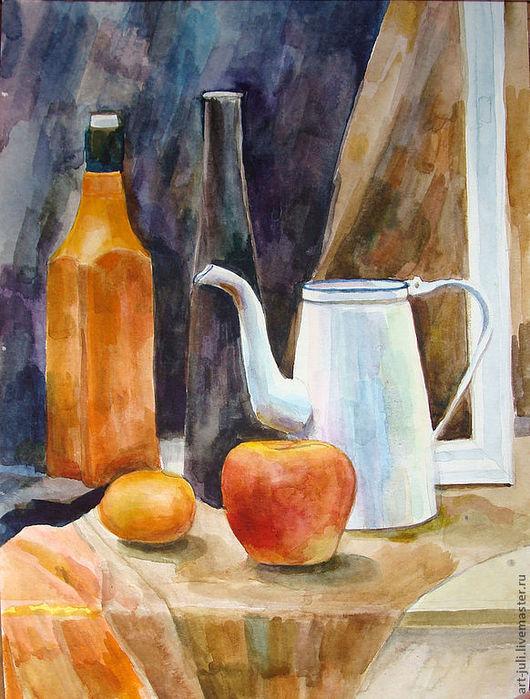 Натюрморт ручной работы. Ярмарка Мастеров - ручная работа. Купить картина акварелью. натюрморт с черной бутылкой (51х35). Handmade. Рыжий