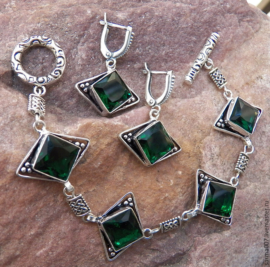 'Emerald city' quartz , silver bracelet earrings, Jewelry Sets, Voronezh,  Фото №1