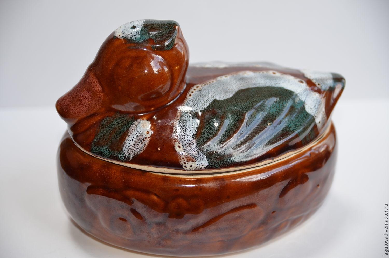 Винтаж: Посуда с крышкой для запекания - уточка-.Керамика, Кухонная утварь винтажная, Конаково,  Фото №1