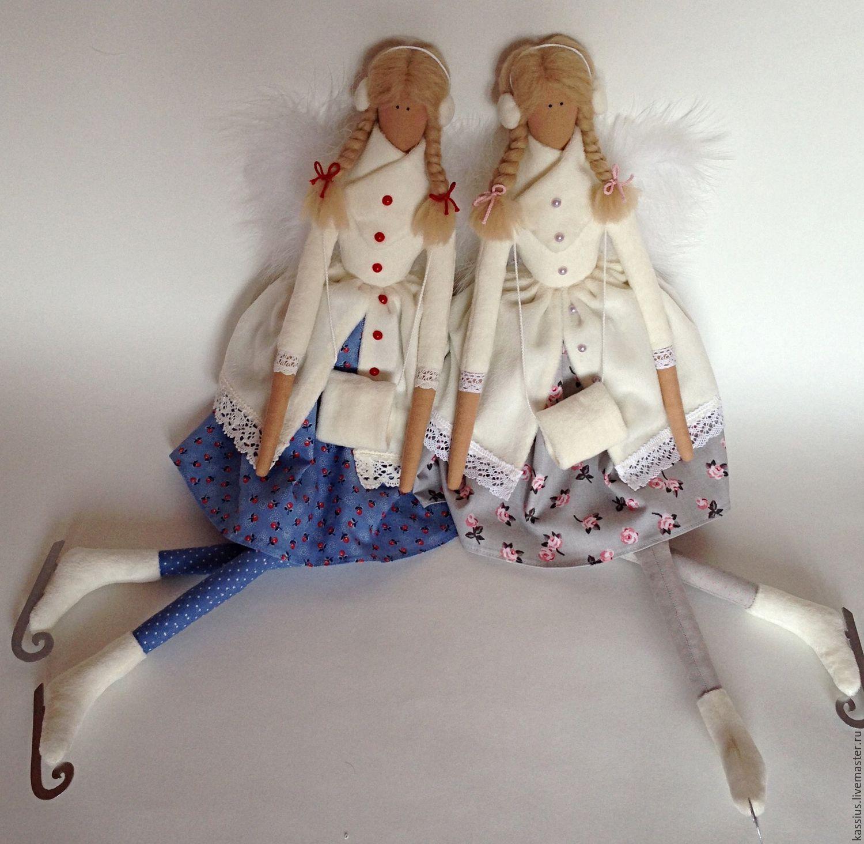 Купить Зимний ангел на коньках (Интерьерная кукла тильда) - разноцветный, ангел тильда, зимний ангел