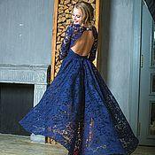 Одежда ручной работы. Ярмарка Мастеров - ручная работа Вечернее платье Кружевное синее вечернее платье «Ника каскад». Handmade.