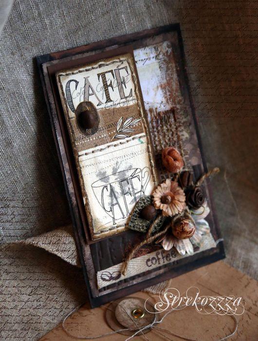"""Открытки на все случаи жизни ручной работы. Ярмарка Мастеров - ручная работа. Купить Открытка""""Вкус кофе""""(Коллекция """"Кофейная книга"""")- №4. Handmade."""