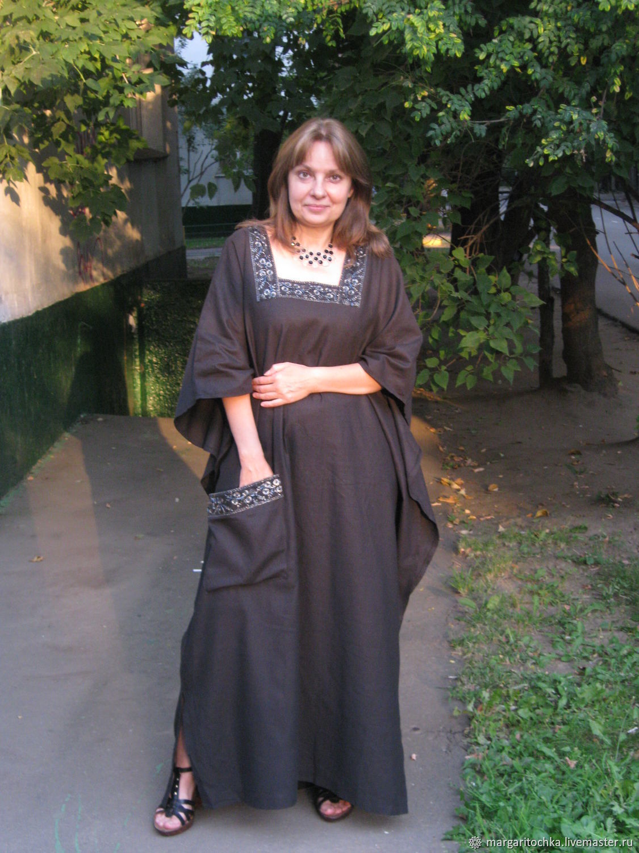 Бохо платье изо льна черное серое, Платья, Москва,  Фото №1