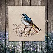 Картины и панно ручной работы. Ярмарка Мастеров - ручная работа картина Синяя птаха весной (шебби шик, прованс, бежевый, голубой). Handmade.