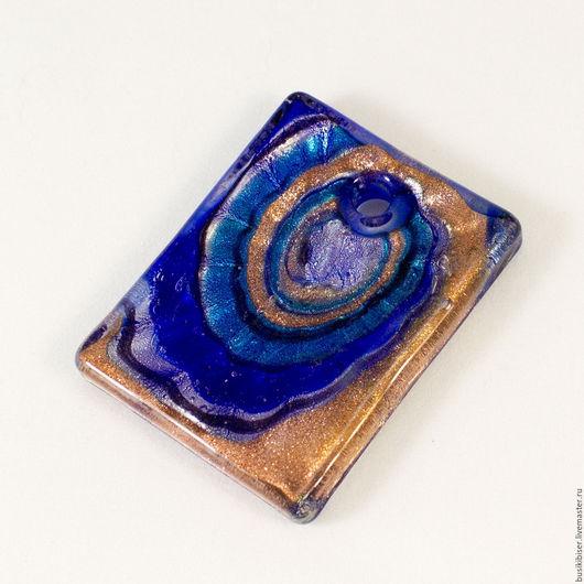 Для украшений ручной работы. Ярмарка Мастеров - ручная работа. Купить Кулон прямоугольный из муранского стекла синий. Handmade. Разноцветный