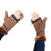 Аксессуары handmade. Livemaster - original item Men`s mittens-mittens made of genuine sheepskin (size 10). Handmade.