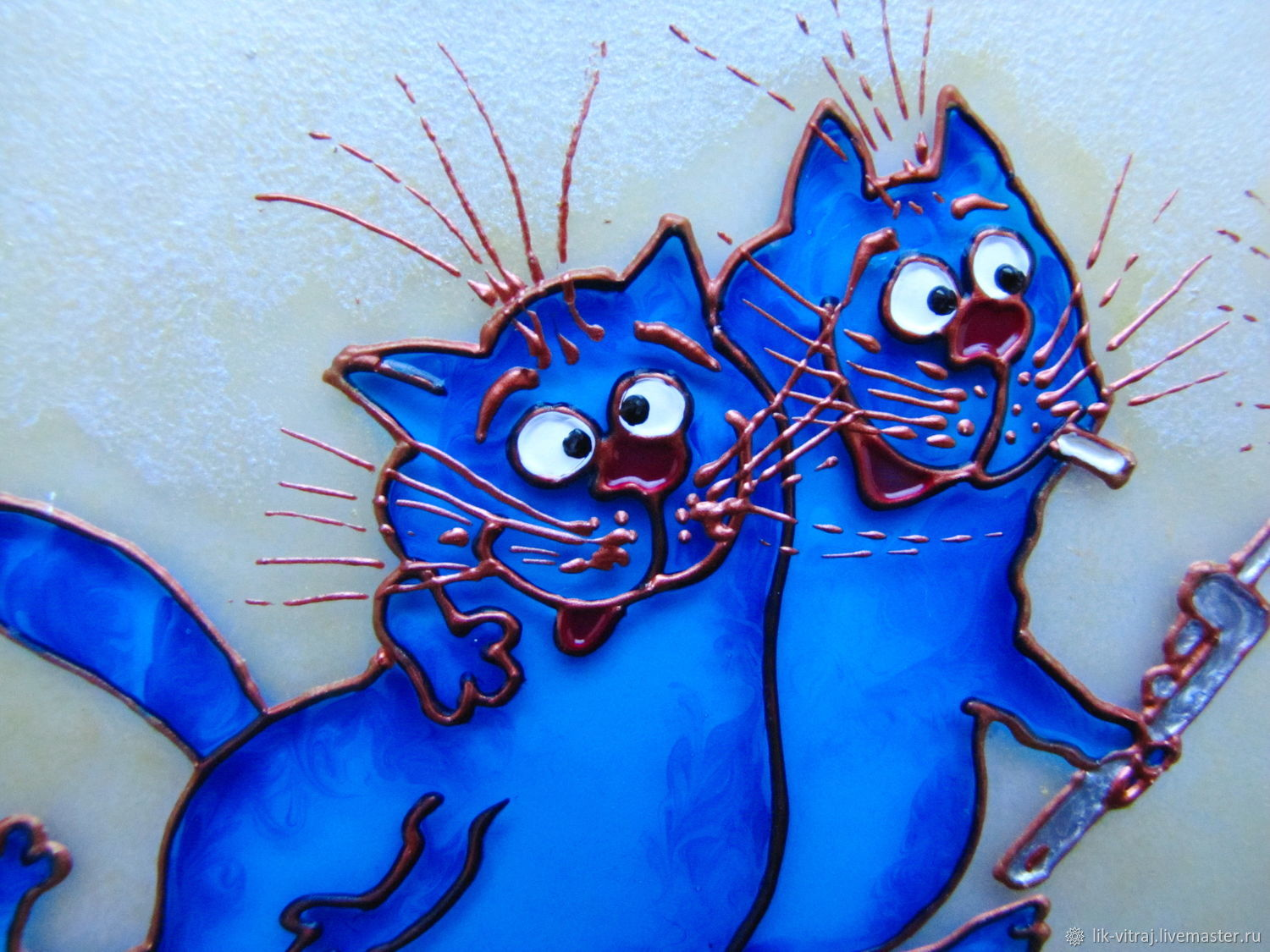 Stained glass painting Laborers. Blue cats by Rina, Sanuk. Free shipping, Pictures, Severodonetsk,  Фото №1