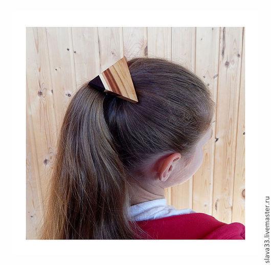 Детская бижутерия ручной работы. Ярмарка Мастеров - ручная работа. Купить Резинка для волос, из дерева.. Handmade. В полоску