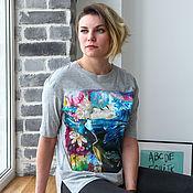 Одежда handmade. Livemaster - original item T-shirt grey Girl, the sea and the whales hand painted. Handmade.