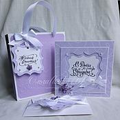 Свадебный салон ручной работы. Ярмарка Мастеров - ручная работа Свадебный набор(открытка+конверт для денег+сумочка). Handmade.