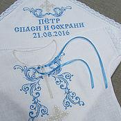 Работы для детей, handmade. Livemaster - original item Linen christening set for boy with embroidery. art.005. Handmade.