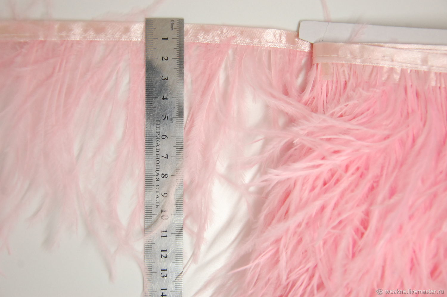 Copy of Trim of ostrich feathers 10-15 cm pink, braid, Moscow,  Фото №1