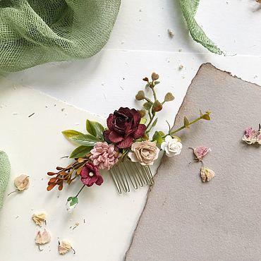 Украшения ручной работы. Ярмарка Мастеров - ручная работа Цветочный гребень с бордовыми цветами, гребень для невесты. Handmade.