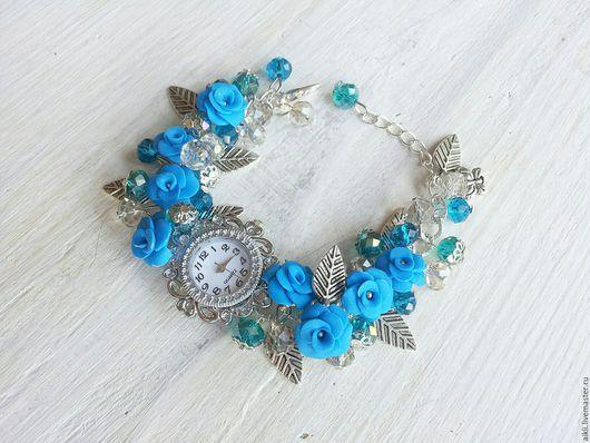 """Часы ручной работы. Ярмарка Мастеров - ручная работа. Купить Часы ручной работы """"Жасмин"""". Handmade. Синий, часы браслет"""