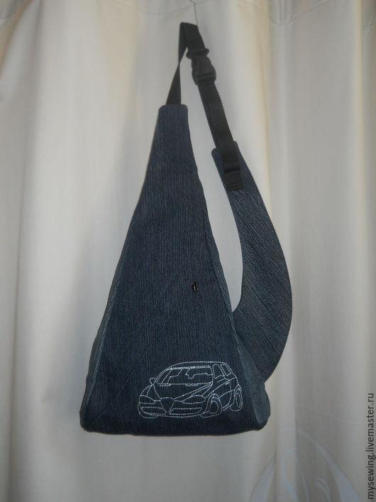 Мужские сумки ручной работы. Ярмарка Мастеров - ручная работа. Купить Рюкзак  на одно плечо мужской. Handmade. Тёмно-синий