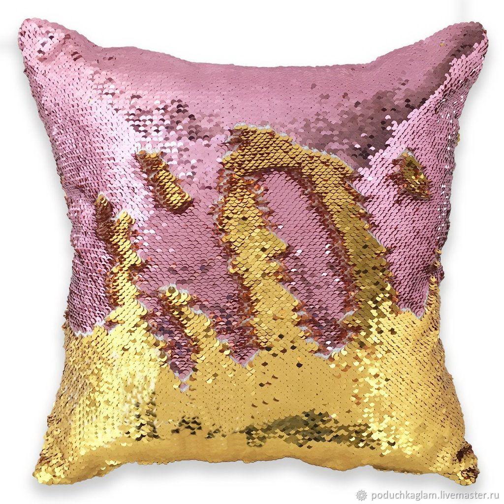 Детская ручной работы. Ярмарка Мастеров - ручная работа. Купить Подушка декоративная с пайетками. glam pillows Золото с розовым. Handmade.