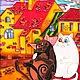 """Животные ручной работы. Ярмарка Мастеров - ручная работа. Купить """"Коты на Питерских крышах. Друзья"""" Витражная роспись по стеклу. Handmade."""