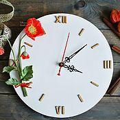 """Часы классические ручной работы. Ярмарка Мастеров - ручная работа Часы настенные """"Маки"""". Handmade."""