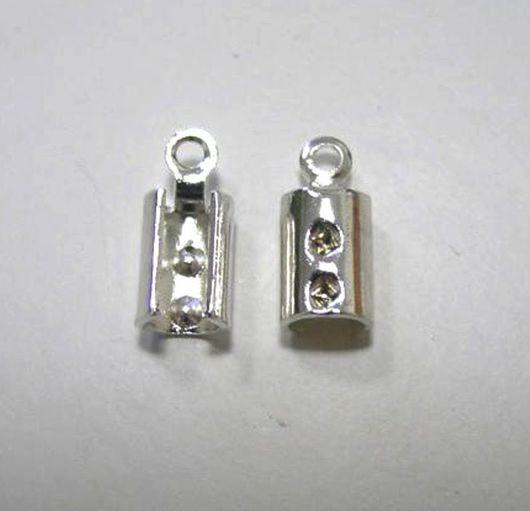 Для украшений ручной работы. Ярмарка Мастеров - ручная работа. Купить Пара концевиков для шнура 1,5 мм Серебро 925. Handmade.