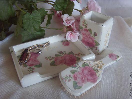 Ванная комната ручной работы. Ярмарка Мастеров - ручная работа. Купить Набор для  туалетного столика Розовые розы. Handmade. Белый