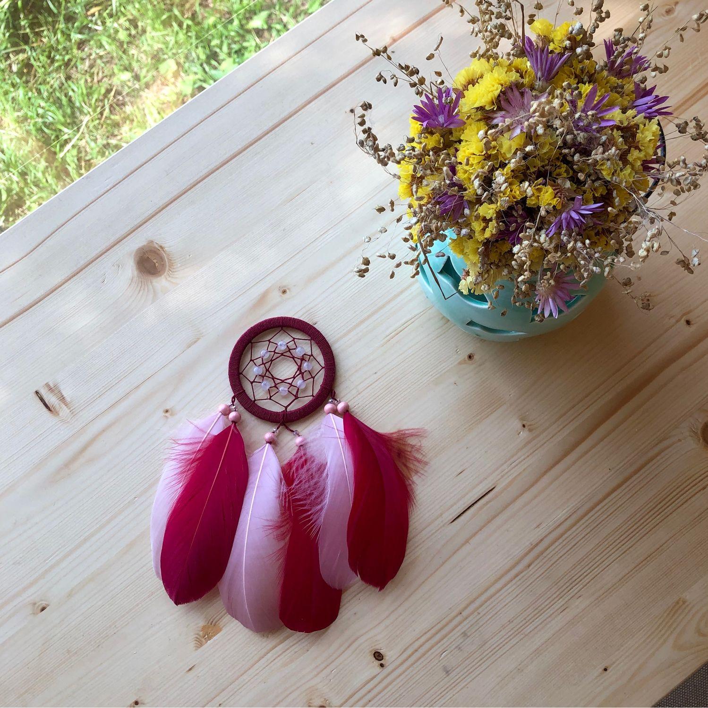 Ловцы снов ручной работы. Ярмарка Мастеров - ручная работа. Купить Ловец снов с розовым кварцем. Handmade. стеклянные бусины