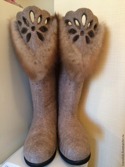 """Обувь ручной работы. Ярмарка Мастеров - ручная работа. Купить Валенки """" меховое кружево"""". Handmade. Бежевый, зимняя обувь"""