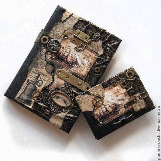 """Подарки для мужчин, ручной работы. Ярмарка Мастеров - ручная работа. Купить Коллекция ежедневник кожаный и обложка на паспорт """"Корабли"""". Handmade."""