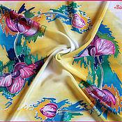 """Аксессуары ручной работы. Ярмарка Мастеров - ручная работа Шелковый платок 90х90 см  батик """"Орхидеи"""". Handmade."""