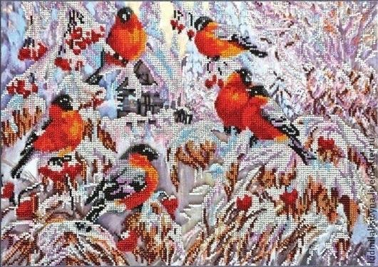 """Пейзаж ручной работы. Ярмарка Мастеров - ручная работа. Купить картина """"Снегири"""". Handmade. Картины и панно, частичная вышивка, зима"""