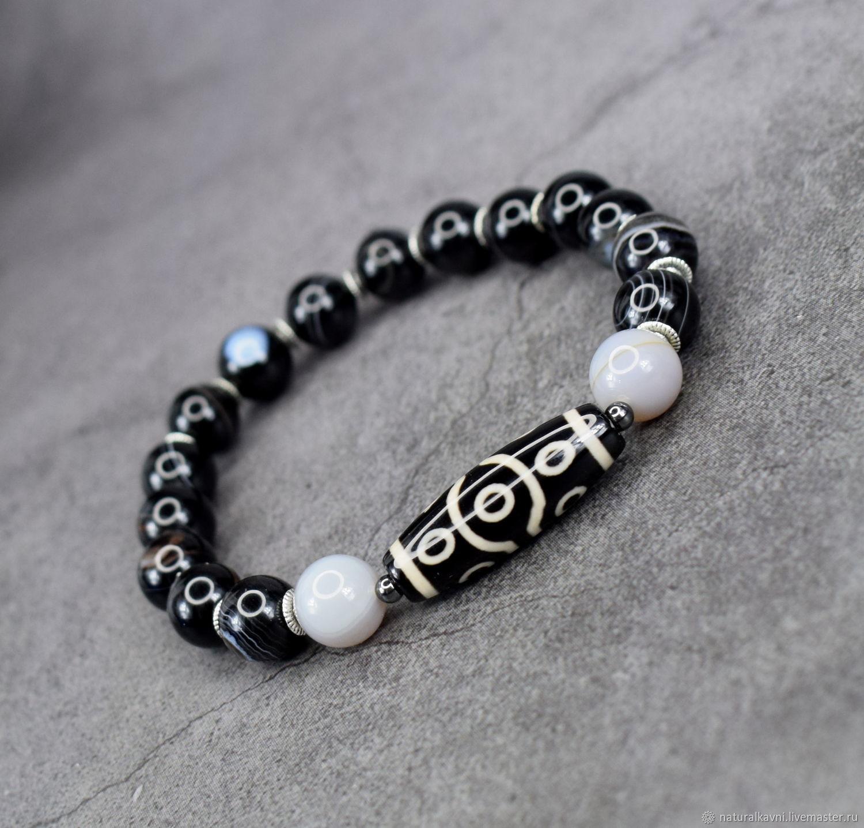 Bracelet natural ocular black agate and DZI 10 eyes, Bead bracelet, Moscow,  Фото №1