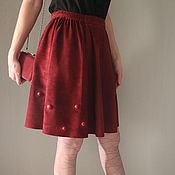 Одежда handmade. Livemaster - original item Skirt suede color Marsala. Handmade.