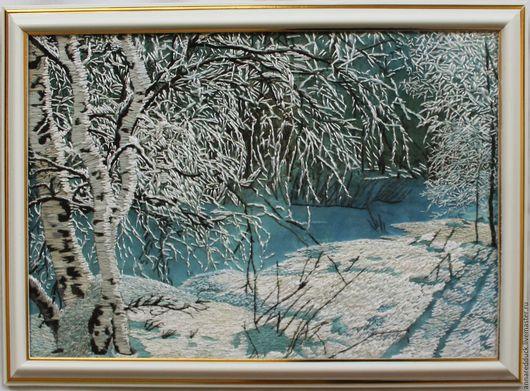 """Пейзаж ручной работы. Ярмарка Мастеров - ручная работа. Купить Вышитая картина """"Зимний пейзаж"""". Handmade. Голубой, пейзаж"""