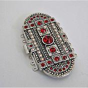 Замочек ювелирный Узорный на 7 нитей, с кристаллами сваровски