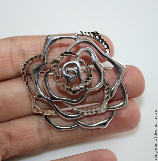 """Для украшений ручной работы. Ярмарка Мастеров - ручная работа. Купить Основа для броши """"Роза"""" - серебрение 925 пробы. Handmade."""