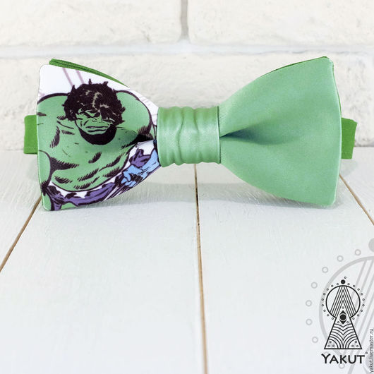 Галстуки, бабочки ручной работы. Ярмарка Мастеров - ручная работа. Купить Бабочка галстук Халк / бабочка-галстук грязно - зеленая, супергерой. Handmade.