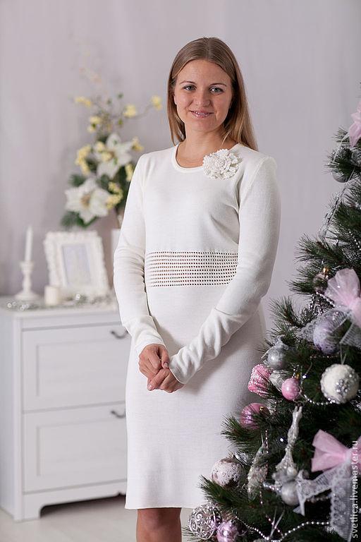 Платья ручной работы. Ярмарка Мастеров - ручная работа. Купить Платье со вставкой белое. Handmade. Белый, Платье белое