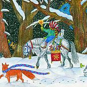 Картины ручной работы. Ярмарка Мастеров - ручная работа Принт Прогулка по сказочному лесу в новогоднюю ночь. Handmade.