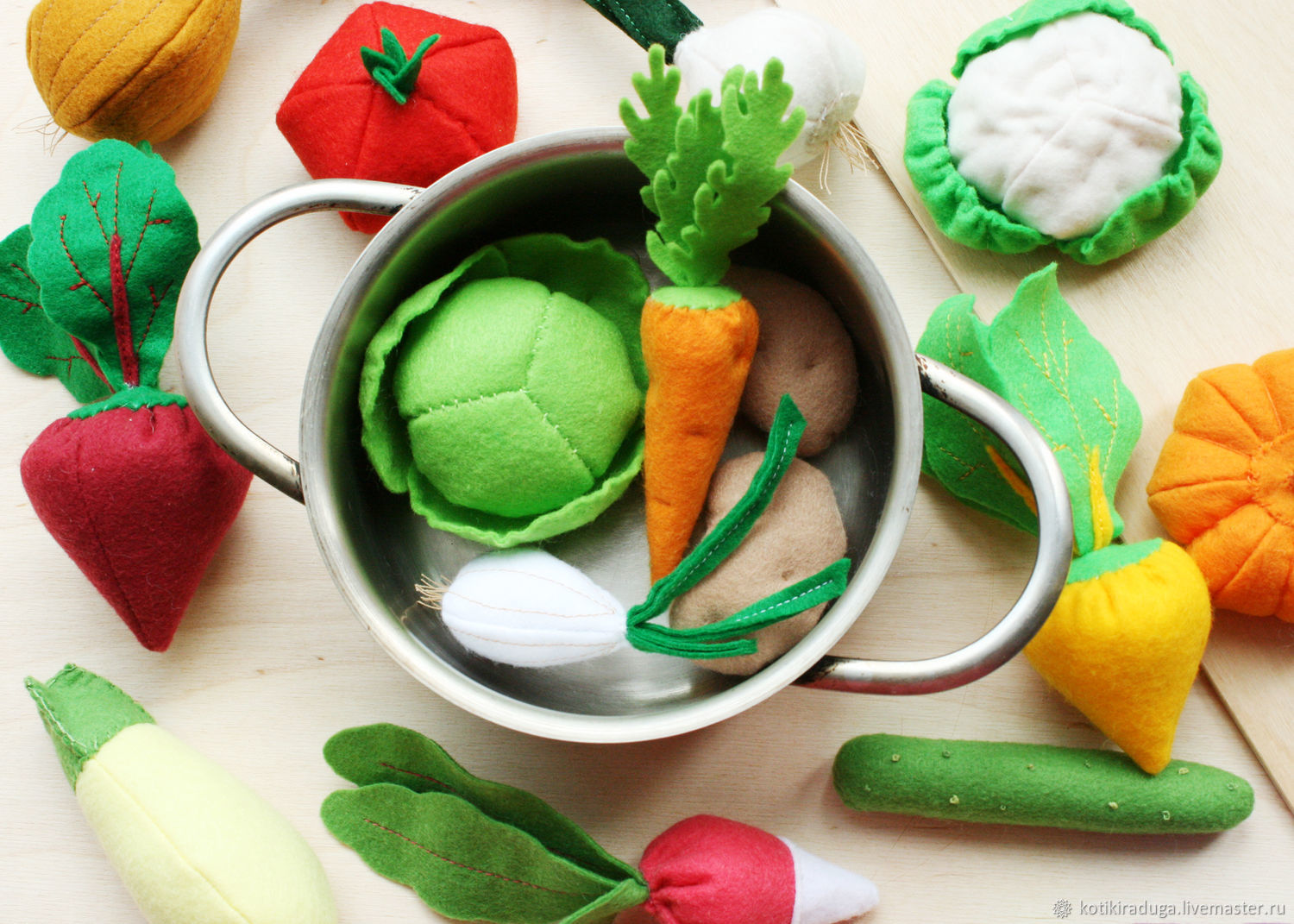 Set of food from felt ' Vegetables', Doll food, Moscow,  Фото №1