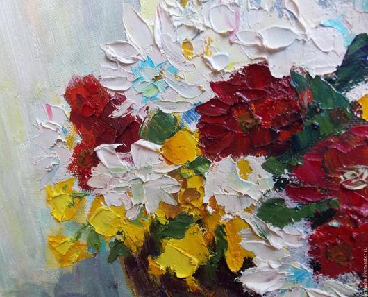 Картины цветов ручной работы. Ярмарка Мастеров - ручная работа. Купить Картина маслом Хризантемы в корзине. Handmade. Разноцветный, белый
