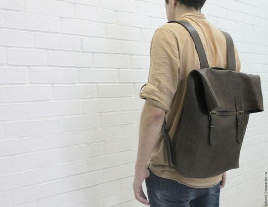Рюкзаки ручной работы. Ярмарка Мастеров - ручная работа. Купить мужской рюкзак из натуральной кожи коричневый backbrown.3. Handmade.
