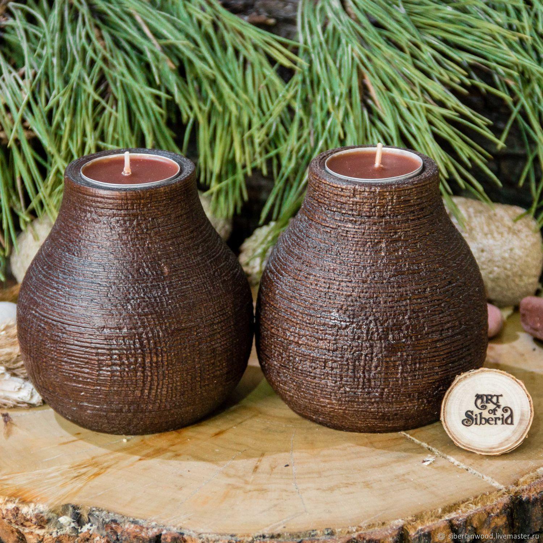 Wooden textured candlesticks made of pine wood-2 pcs. WC23, Candlesticks, Novokuznetsk,  Фото №1