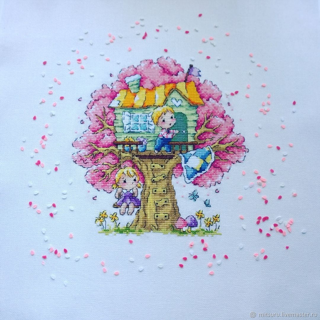 Spring tree house (embroidered picture), Pictures, Moscow,  Фото №1
