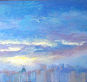"""Картины и панно ручной работы. Ярмарка Мастеров - ручная работа Картина """"Закат над городом"""". Handmade."""