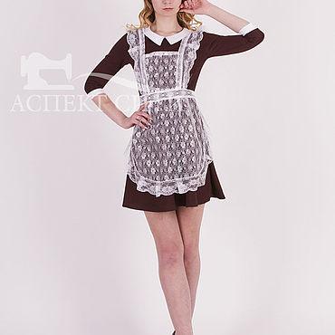 Товары для малышей ручной работы. Ярмарка Мастеров - ручная работа Комплект формы 14-445к (коричневое платье и белый. Handmade.