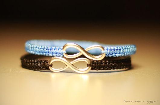 Браслеты ручной работы. Ярмарка Мастеров - ручная работа. Купить Парные браслеты для влюбленных с символом бесконечности. Handmade. Голубой