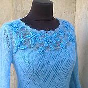 Одежда ручной работы. Ярмарка Мастеров - ручная работа платье вязаное ажурное кид-мохер с вышивкой рококо. Handmade.
